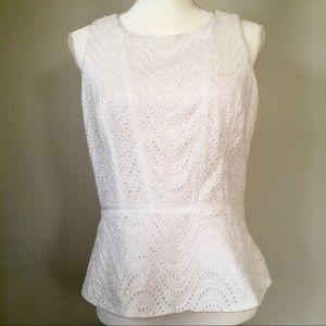 Beautiful WHBM Peplum eyelet top